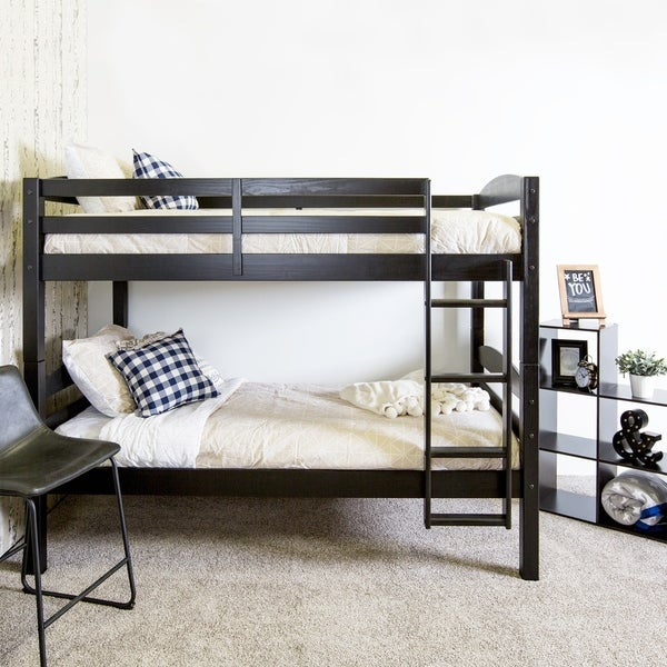 Shop Wood Twin Over Twin Bunk Bed Black Free Shipping Today