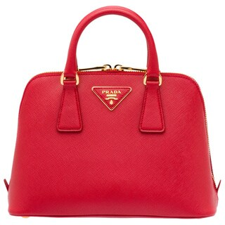 Prada Top Handle Red Saffiano Leather Satchel Handbag