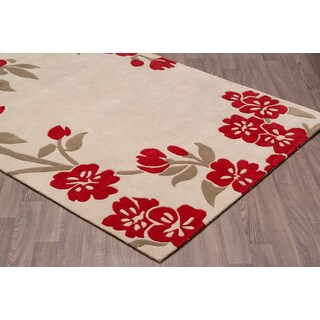 Ivory/Red Wool Handmade Floral Rug (7'6 x 9'6)