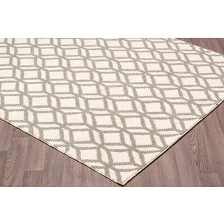 Hand Knotted Facet White/Grey Wool Rug (7'6 x 9'6)