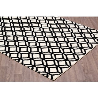 White/Black Wool Hand-knotted Area Rug (7'6 x 9'6)