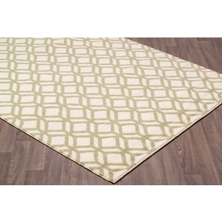 Hand Knotted Facet White/Green Wool Rug (7'.6 x 9'.6)