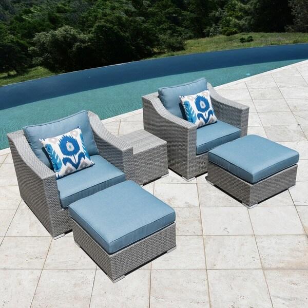 Corvus Martinka Outdoor 5-piece Grey Wicker Furniture Set - Corvus Martinka Outdoor 5-piece Grey Wicker Furniture Set - Free