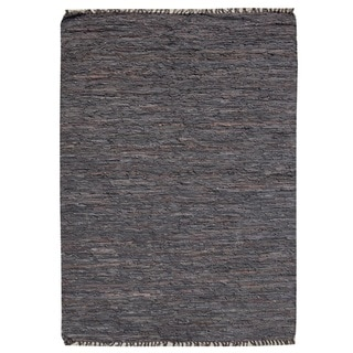 Espresso Leather Handmade Reversible Rug (5'x7')