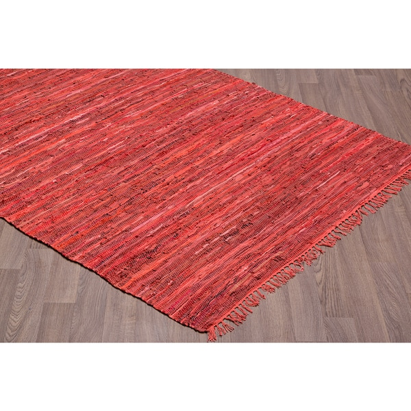 Shop Red Leather Handmade Reversible Rug 7 6 X 9 6 On