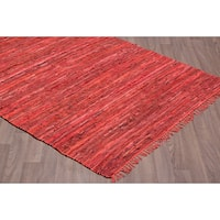 Red Leather Handmade Reversible Rug - 7'6 x 9'6