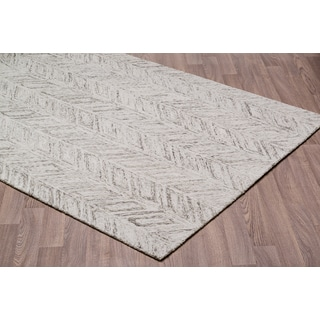 Vines Grey/Ivory Wool Handmade Area Rug (5' x 7')