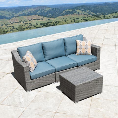 Corvus Martinka Aluminum Outdoor 4-piece Grey Wicker Sofa Set