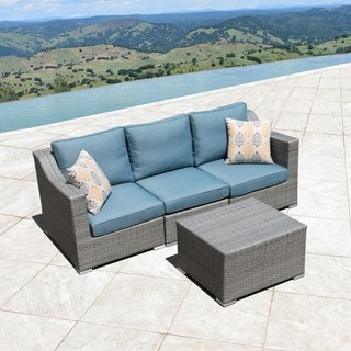 Corvus Martinka 4-piece Grey and Blue Hand-woven Resin Wicker Outdoor Furniture Set