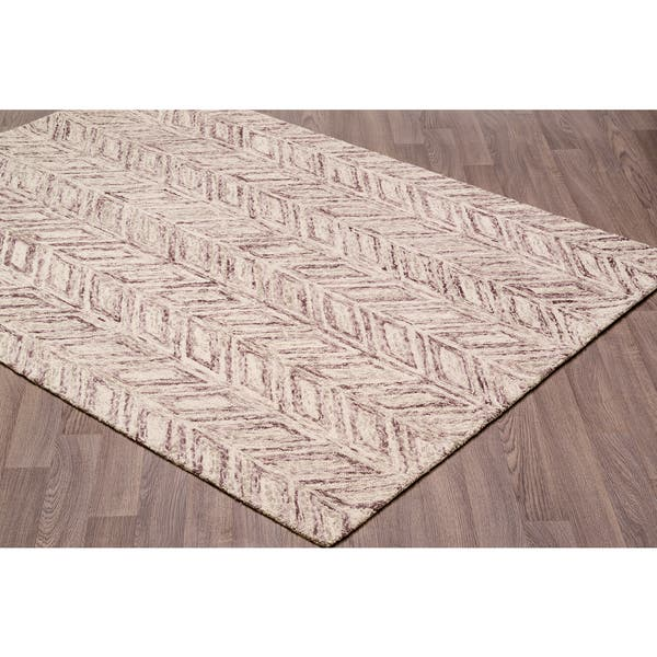 Contemporary Vines Plum Brown Wool Chevron Handmade Rug