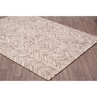Contemporary Vines Plum Brown Wool Chevron Handmade Rug (7'6 x 9'6)