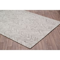 Vines Grey Wool Handmade Rug - 7'6 x 9'6