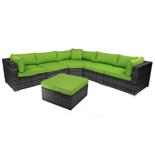 Manta Ray Green 6-Piece Outdoor Patio Sectional Set