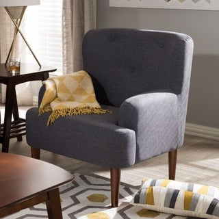 Baxton Studio Dimitrios Mid-Century Modern Fabric Upholstered Walnut Wood Button-Tufted Armchair