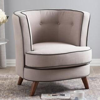 Baxton Studio Origen Mid-Century Modern Beige Upholstered Tufted Accent Chair
