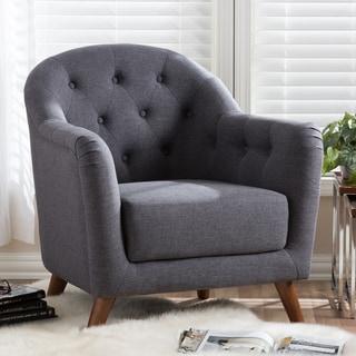 Baxton Studio Nicolaos Mid-Century Modern Grey Upholstered Tufted Armchair