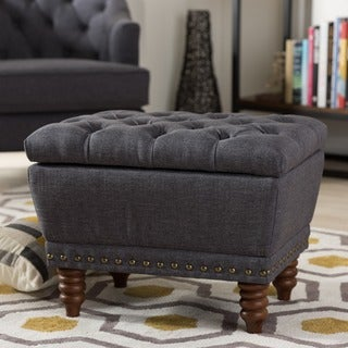 Baxton Studio Ionanna ContemporaryUpholstered Walnut Wood Finished Button-Tufted Storage Ottoman