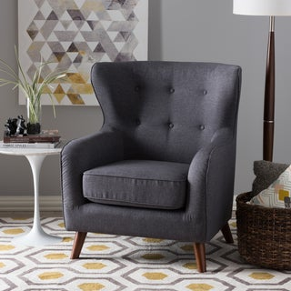Baxton Studio Athena Mid-Century Modern Grey Upholstered Tufted Armchair
