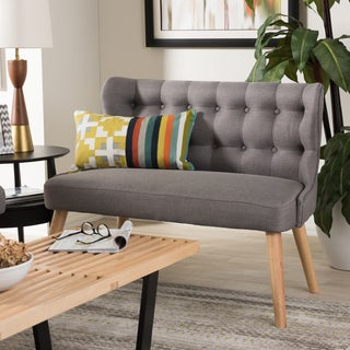 Baxton Studio Parthenia Mid-Century Modern Grey Fabric and Natural Wood Finishing 2-Seater Settee Bench