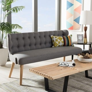 Baxton Studio Parthenia Mid-Century Modern Grey Fabric and Natural Wood Finishing 3-Seater Settee Bench