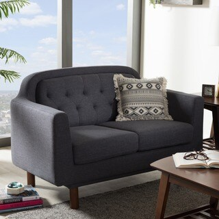 Baxton Studio Delphinia Mid-Century Modern Grey Upholstered Tufted Loveseat