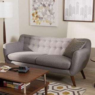 Baxton Studio Melita Mid-Century Modern Fabric Grey Tufted Sofa
