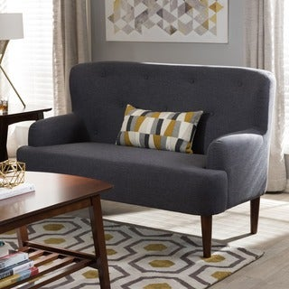 Baxton Studio Dimitrios Mid-Century Modern Upholstered Tufted Loveseat