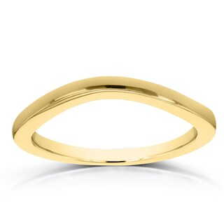 Annello By Kobelli 14k Yellow Gold Curved Shadow Wedding Band