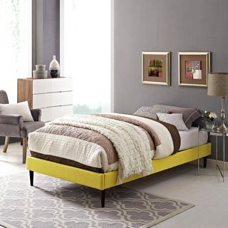 Sherry Sunny Fabric Bed with Round Tapered Legs