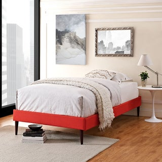 Sherry Atomic Red Fabric Bed with Round Tapered Legs