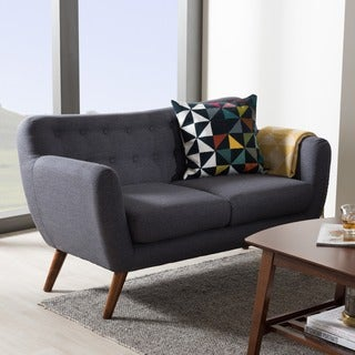 Baxton Studio Melita Mid-Century Modern Fabric Walnut Wood Tufted 2-Seater Loveseat (Dark Grey)