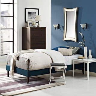 Sharon Azure Fabric Bed with Squared Tapered Legs Size - Twin