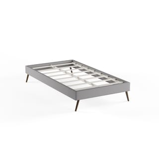 Helen Light Gray Wood Bed Frame with Round Splayed Legs