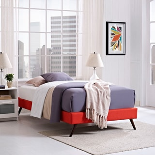 Helen Atomic Red Wood Bed with Round Splayed Legs