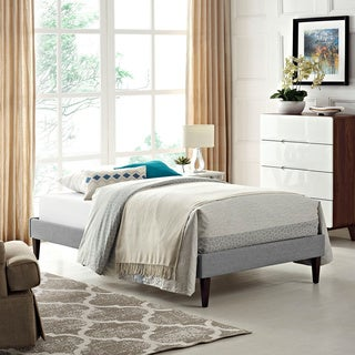 Sharon Light Gray Fabric Bed with Squared Tapered Legs