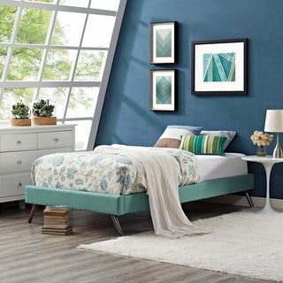 Sharon Laguna Fabric Bed with Squared Tapered Legs