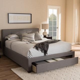 Baxton Studio Kalliope Modern Upholstered Platform Bed with Storage Drawer