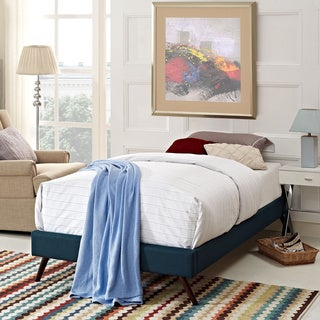 Helen Azure Wood Bed with Round Splayed Legs