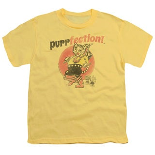 Puss N Boots/Purrfection Short Sleeve Youth 18/1 in Banana