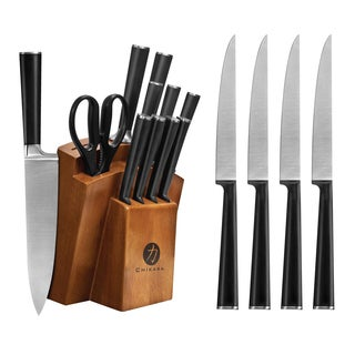 Ginsu Chikara Series Forged 16Pc Japanese Steel Knife Set – Cutlery Set w/ 420J Stainless Steel Knives, Hardwood Block