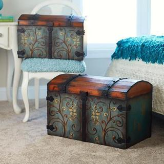 Multicolored Metal/Wood Large Domed Vintage Storage Chest