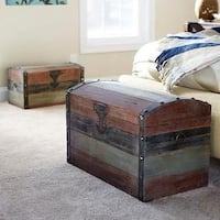 Wood and Metal Large Weathered Finish Studded Strap-accented Storage Trunk