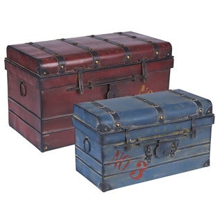Metal Steamer Trunk (Set of 2)