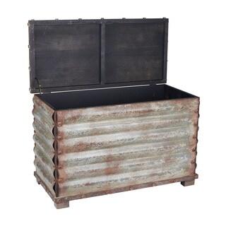 Household Essentials Grey/Black Corrugated Metal Storage Chest