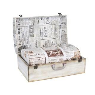 Household Essentials Vintage Newspaper Suitcase Trunk (Set of 2)