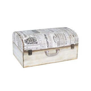 Household Essentials White Wood/Metal Vintage Newspaper Suitcase Trunk