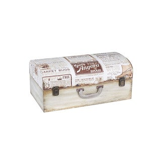 Household Essentials Wood Small Vintage Newspaper Suitcase Trunk