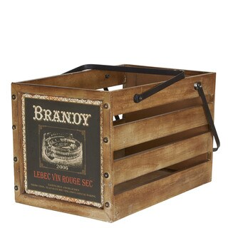 Household Essentials Brown Wood Large Brandy Crate