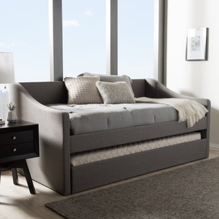 Baxton Studio Kallikrates Modern Daybed with Trundle Bed (Option: Grey - Faux Leather/MDF)