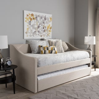 Baxton Studio Kallikrates Modern Daybed with Trundle Bed (Option: Beige - Faux Leather/MDF)